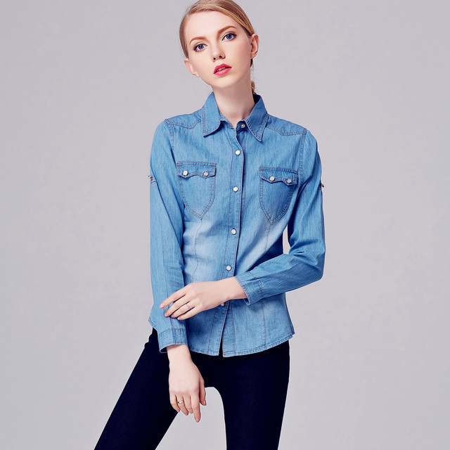 451008be09c5 US $31.76  Abbigliamento Donna Spring 2016 Denim Long Sleeve Woman Blouse  Blusa Jeans Damen Bluse Vestiti Camisa Mujer XXL Women Clothing-in Blouses  & ...