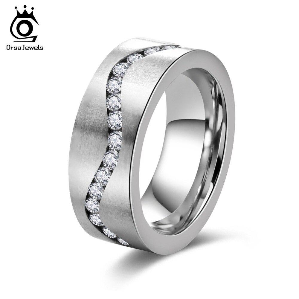 Schmuck & Zubehör Orsa Juwelen Luxus Silber Ringe Für Frauen Mikro Gepflastert Aaa Österreichischen Kubikzircon Mode Engagement Geschenk Or112