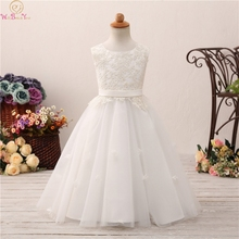 Sleeveless Floor Length Ball Gown Flower Girls Dresses For Wedding 2019 Elegant Appliques Lace Up First Communion vestido Gowns цена и фото