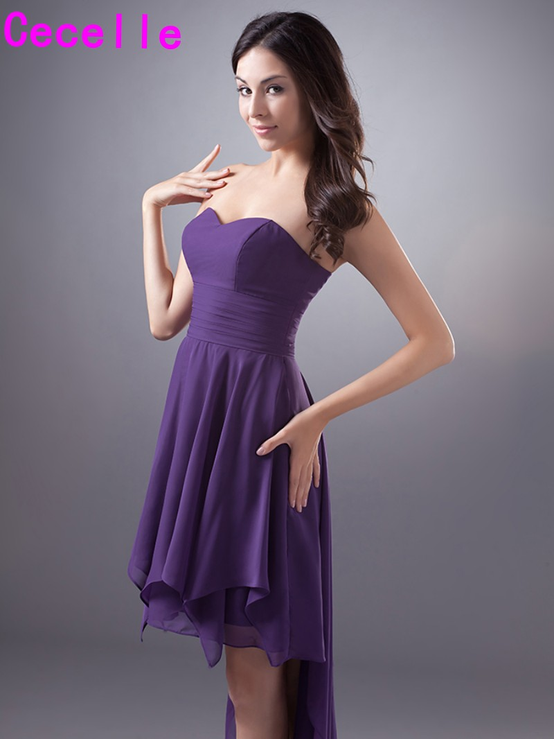 Purple short high low chiffon bridesmaid dresses cheap plus size purple short high low chiffon bridesmaid dresses cheap plus size simple sweetheart informal country western wedding party dress in bridesmaid dresses from ombrellifo Gallery