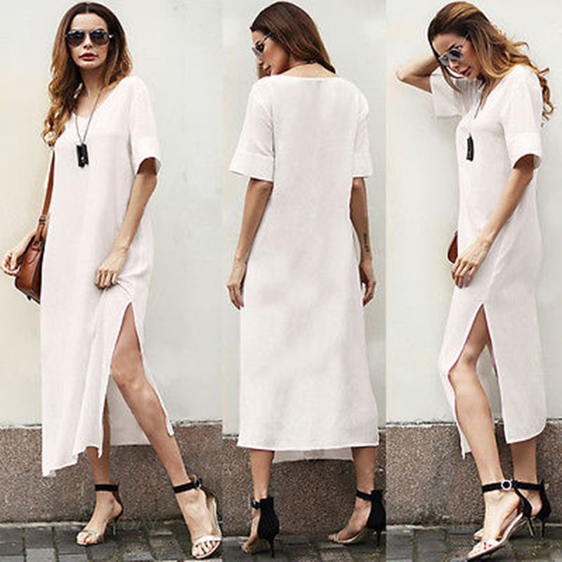 Fashion damen Maxi Boho Kleid Casual Sommer Strand Lange Sommerkleid ...