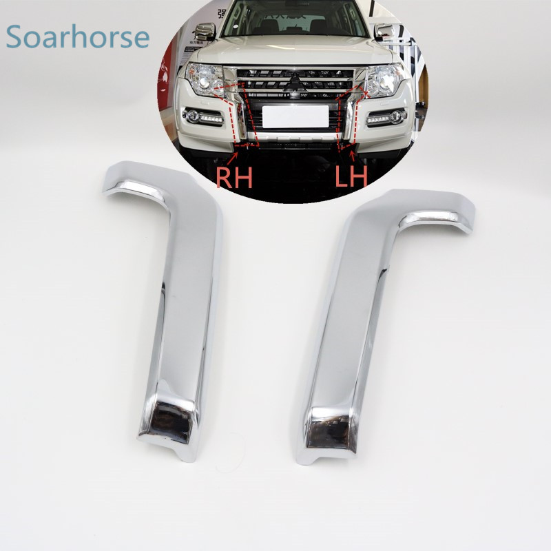 Hippocampe De Voiture Pare-chocs Avant Grill Chrome Trim Moulage couvercle Décoratif Pour Mitsubishi Pajero Montero V93 V97 V98 2015 2016 2017
