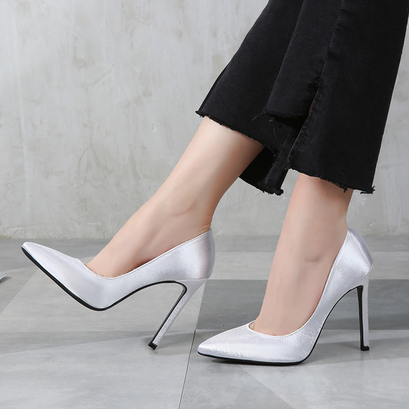 f0f3d7f2cd8 MAIERNISI Shoes Woman High Quality Satin High Heels Women Pumps Ladies  Office Shoes Heel Woman Pointed Toe Summer Sandals-in Women s Pumps from  Shoes on ...