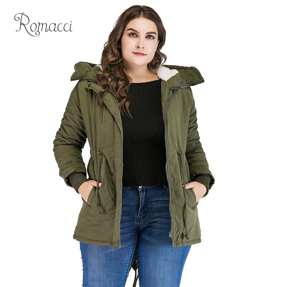 Romacci 2019 Winter Jacket Women Korean Fleece   Parka   K-pop Warm Coat Overcoat Classical Hooded Jacket Green Manteau Femme Hiver