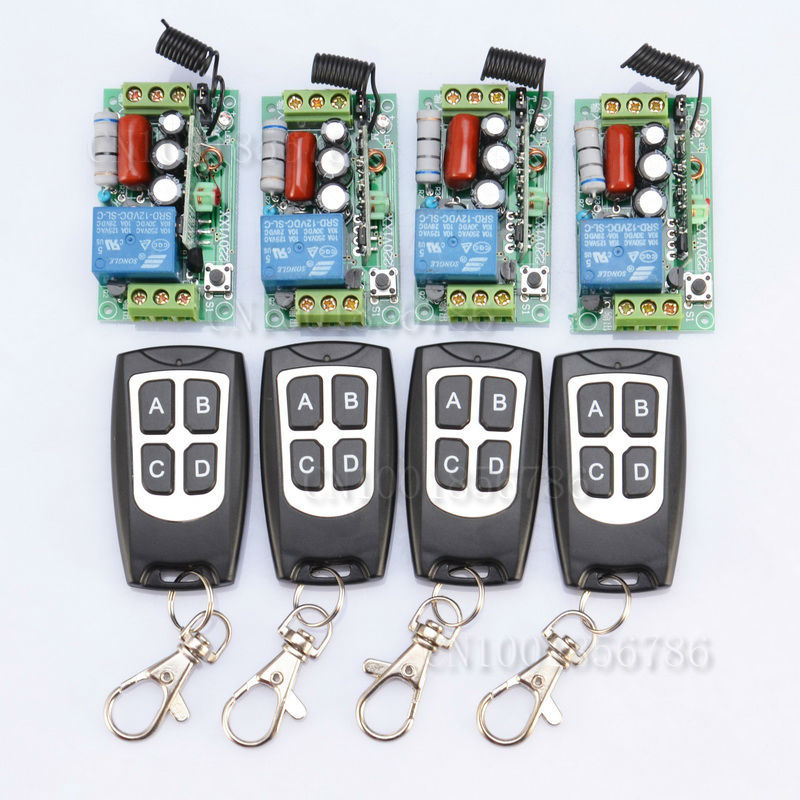 ФОТО 220V 1CH 10A 1000W Wireless Switch System 4 Receiver&4Transmitter Remote Controller Output State Can Adjusted