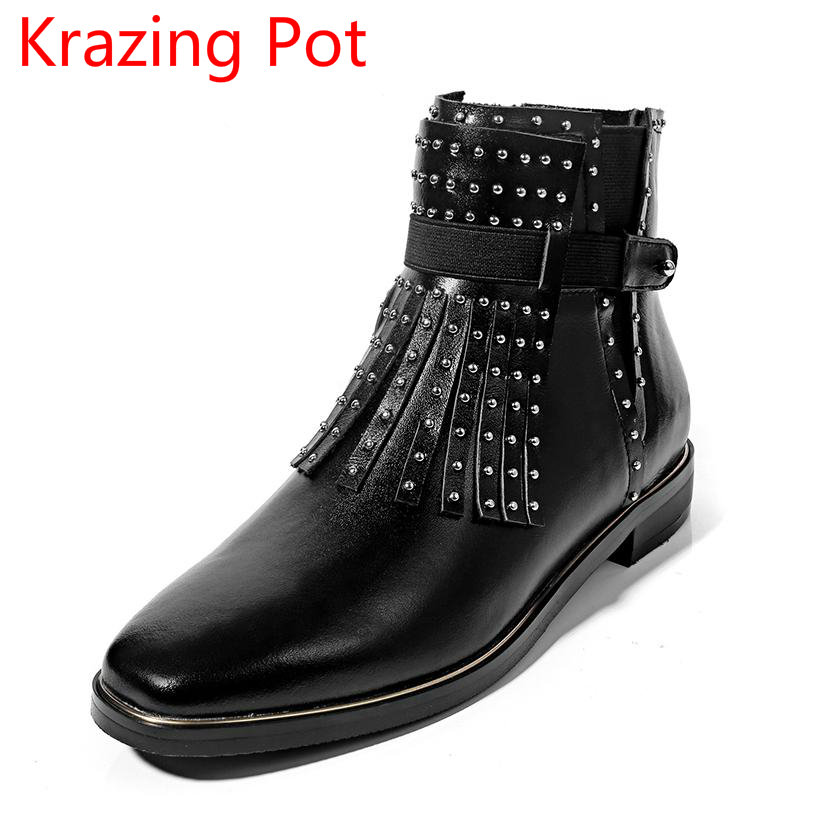 2018 New Arrival Genuine Leather Fashion Boots Thick Heel Winter Shoe Motorcycle Boots Rivets Party Runway Women Ankle Boots L09 new arrival genuine leather pointed toe fashion winter boots rivets thick heel slip on chelsea boots handmade ankle boots l93