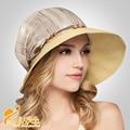2016 Sombrero de Verano Amplia Floppy Sombrero de Paja de Las Mujeres Sombrero de La Flor/Caps Girls Loved Caliente a prueba de Sol Playa sombrero B-2308