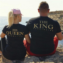 H1063 Valentine T Shirts Woman THE KING HIS QUEEN Funny Letter Print Couples Leisure T-shirt Man O-Neck Tshirt top tees female