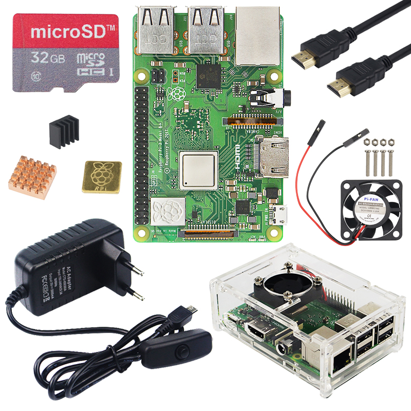 Original do REINO UNIDO 3 Raspberry Pi Modelo B Plus kit WiFi & Bluetooth com Adaptador de Energia 3A Acrílico Caso Cooler melhor 3B do Raspberry Pi