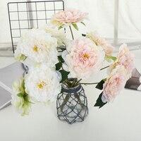 5 Heads Artificial Peony Flower Wedding Bridal Bouquet Silk Flower Table Garden DIY Decoration