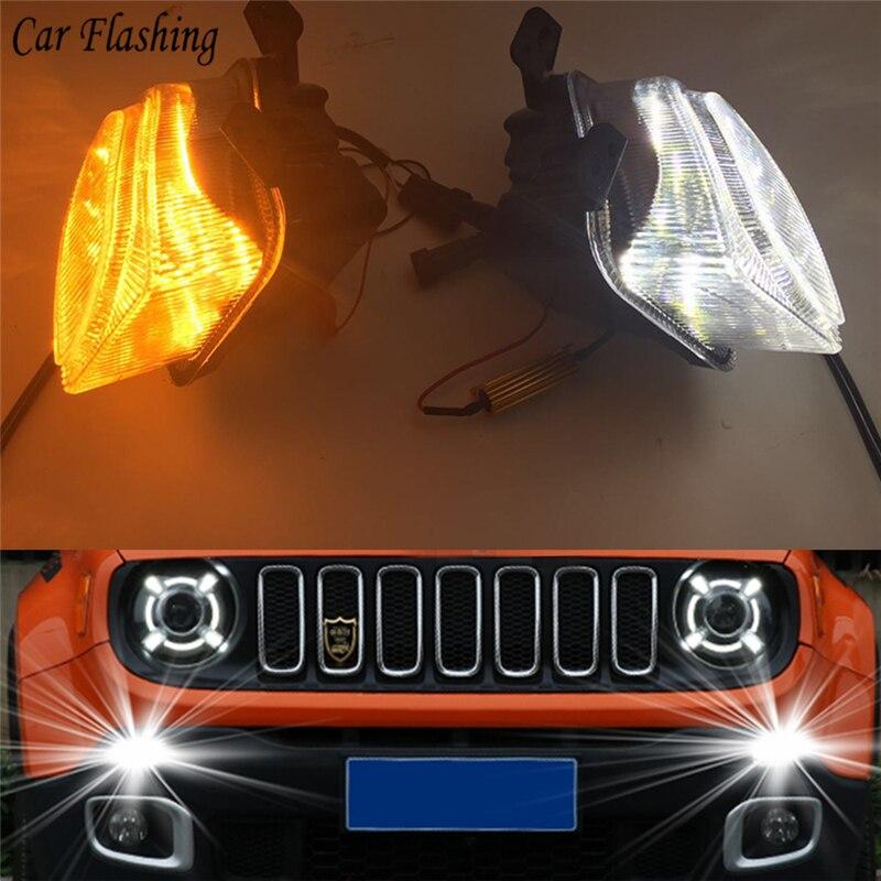 car flashing 2 pcs For Jeep renegade 2015 2016 2017 2018 LED DRL Daytime driving Running