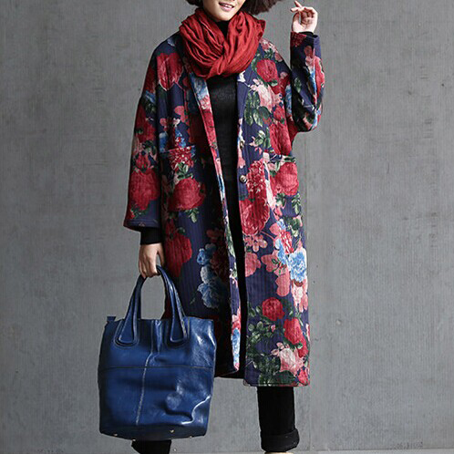 Free shipping–2015 New arrival national trend flower vintage medium-long clip long-sleeve coat loose cotton-padded Trench
