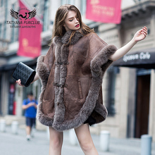Retro Nobility Shawl Jacket,Fox Fur Collar Sheepskin Fur,Luxurious Women's Fur Coat,Sheepskin Coat Fur Coats,Real Leather Coat