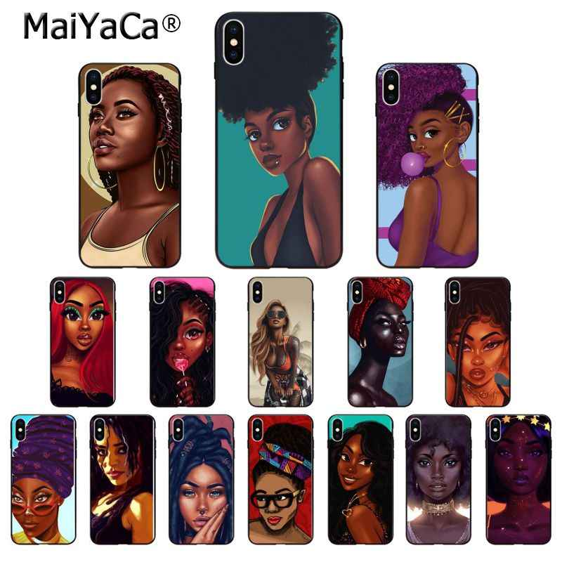 Maiyaca Indah Afro Black Girls TPU Soft Phone Aksesoris Ponsel Case untuk iPhone 8 7 6 6S PLUS 5 5S SE XR X XS Max Cover