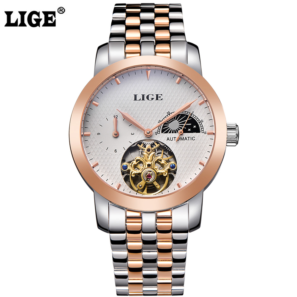 ФОТО LIGE Brand Men's Moon Phase Automatic Watch man Fashion Casual Dive Business Watches men Full steel Gold watch relogio masculino
