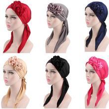 2018 Muslim Women Flower Cap Cancer Hat Long Tail Cap Hair Loss Head Scarf Turban