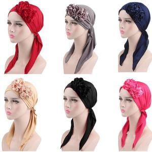 Image 1 - 2018 Muslim Women Flower Cap Cancer Hat Long Tail Cap Hair Loss Head Scarf Turban