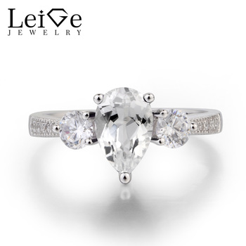 Leige Jewelry Real Natural White Topaz Ring Wedding Ring Pear Cut Gemstone November Birthstone Solid 925 Sterling Silver Ring