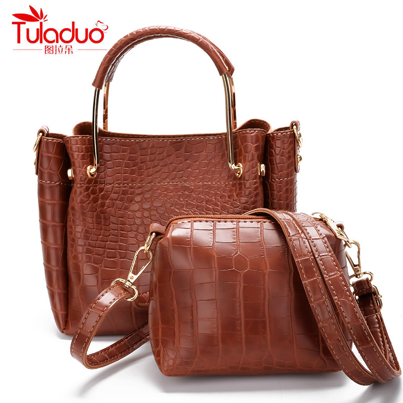 Famous Brand Alligator Women Handbags Fashion Oil Wax Women Shoulder Bags High Quality PU Leather Tote Bag Ladies Top-Handle Bag bailar fashion women shoulder handbags messenger bags button rivets totes high quality pu leather crossbody famous brand bag