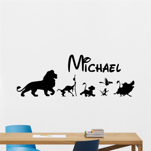 Personalized cartoon lion king wall decal custom name cartoons vinyl sticker kids baby room wall art