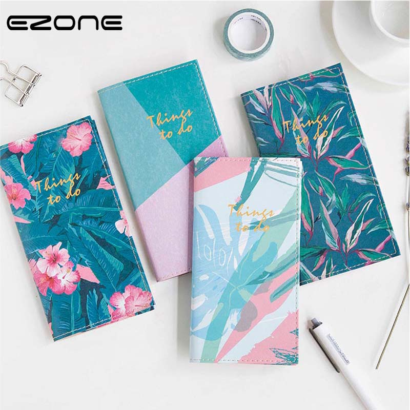 EZONE Tropical Rainforest Notebook Creative Note Book Printed Cute Flowers/Leaves/Palm Notepad Traveler School Office Supply tropical leaves print tapestry