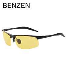 BENZEN Night Driving Glasses Men Alloy Hd Vision Night Driving Glasses Male Driving Glasses With Case 8001