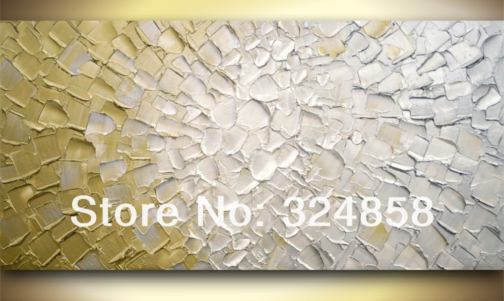 Huge Impasto Metallic Golden White Rectangle Oil Painting On Canvas Palette Knife Modern Painting Home Decor Wall Art-in Painting u0026 Calligraphy from Home ... & Huge Impasto Metallic Golden White Rectangle Oil Painting On Canvas ...