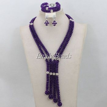 Top Quality Purple Crystal Beads African Jewelry Set Nigerian Wedding African Beads Statement Necklace Set Free Shipping AIJ202