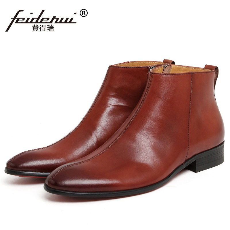 New Arrival Man Luxury Brand Wedding Shoes Designer Genuine Leather Pointed Toe Outdoor Men's Cowboy Martin Ankle Boots KE80 new arrival man luxury brand cowboy western shoes male designer genuine leather round toe men s cowboy martin ankle boots ke62 page 3