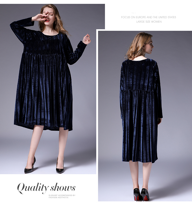 c86b5630f0f Item Condition  100% Brand new. Loose plus size velvet dresses autumn new  high waist crew neck long sleeve casual Elegant dress oversize XL to 4XL  solid ...