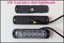 Extra thin 6W Led car grill warning Lights,emergency lights,led strobe lights,lightheads,22flash,waterproof