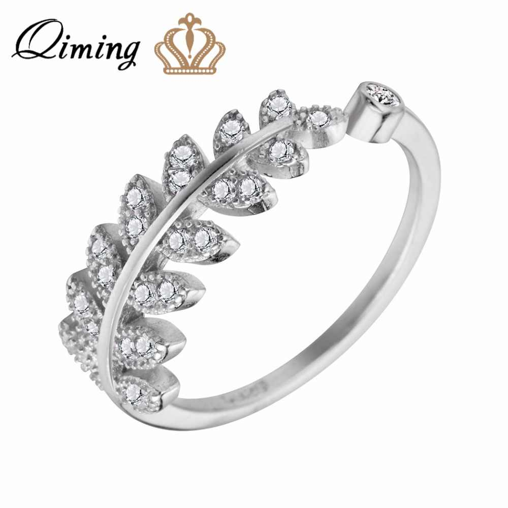 QIMING Silver Elegant Crystal Rings For Girls Ladies Leaves Charm Engagement Ring Women Wholesale Jewelry