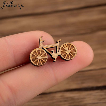 Jisensp Vintage Fashion Bicycle Wooden Brooch Pins for Women Handmade Bike Wood Jewelry Gift broches para las mujeres 2019 image