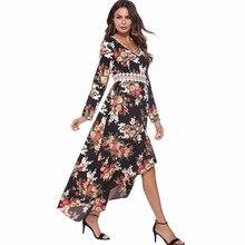 women dress floral printed one-piece v neck fashion vestido mujer dresses robe femme ete 2018 elegant longo