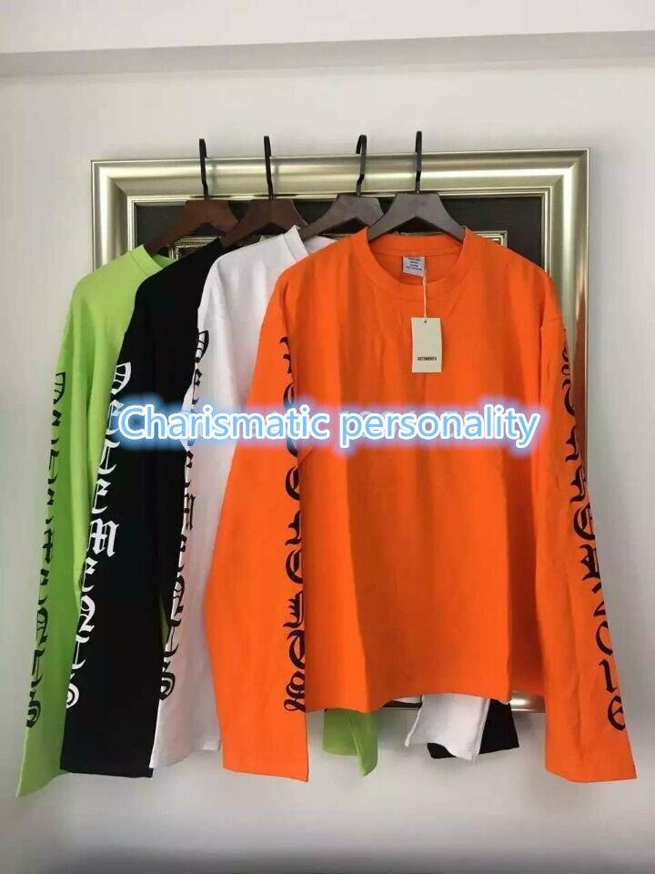 2016SS TOP VETEMENTS oversized t shirt kpop 1 west men women long sleeve letter printing tee