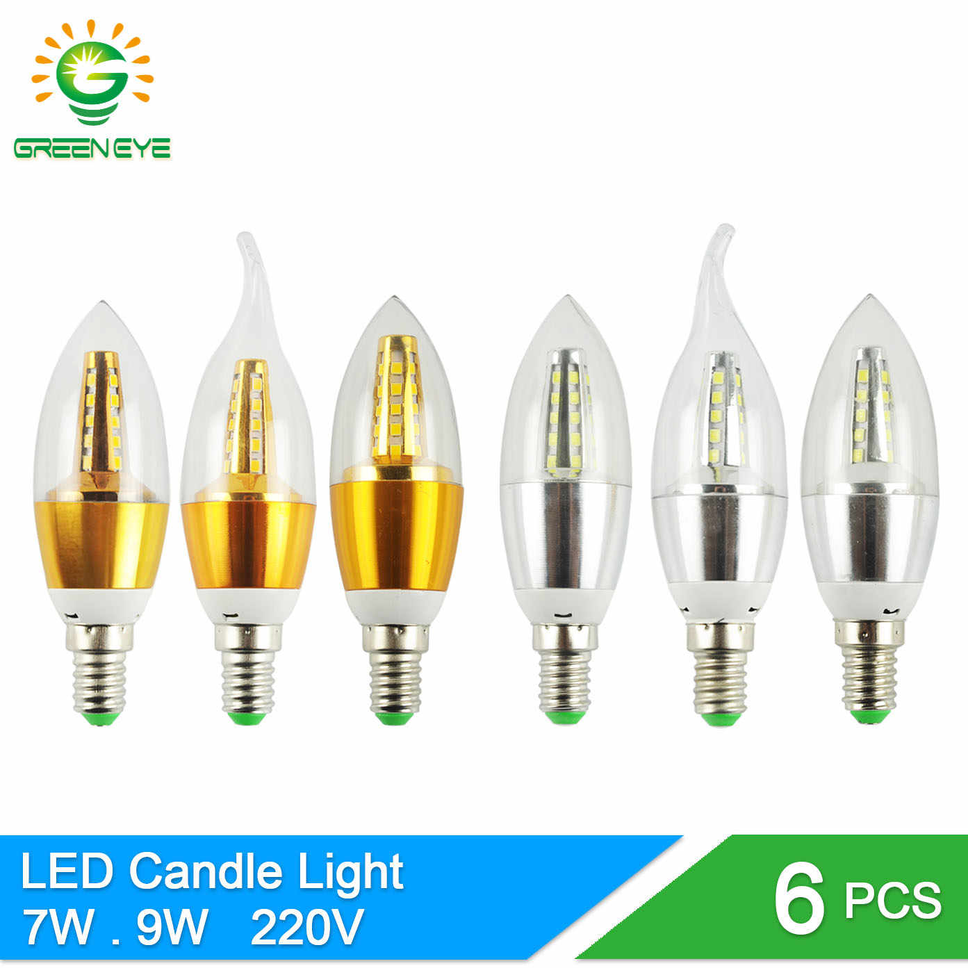 GreenEye 6Pcs E14 LED Candle Bulb Light 7w 9w Aluminum LED Lamp 220V Golden Silver Cool Warm White Ampoule Lampara Vintage Retro