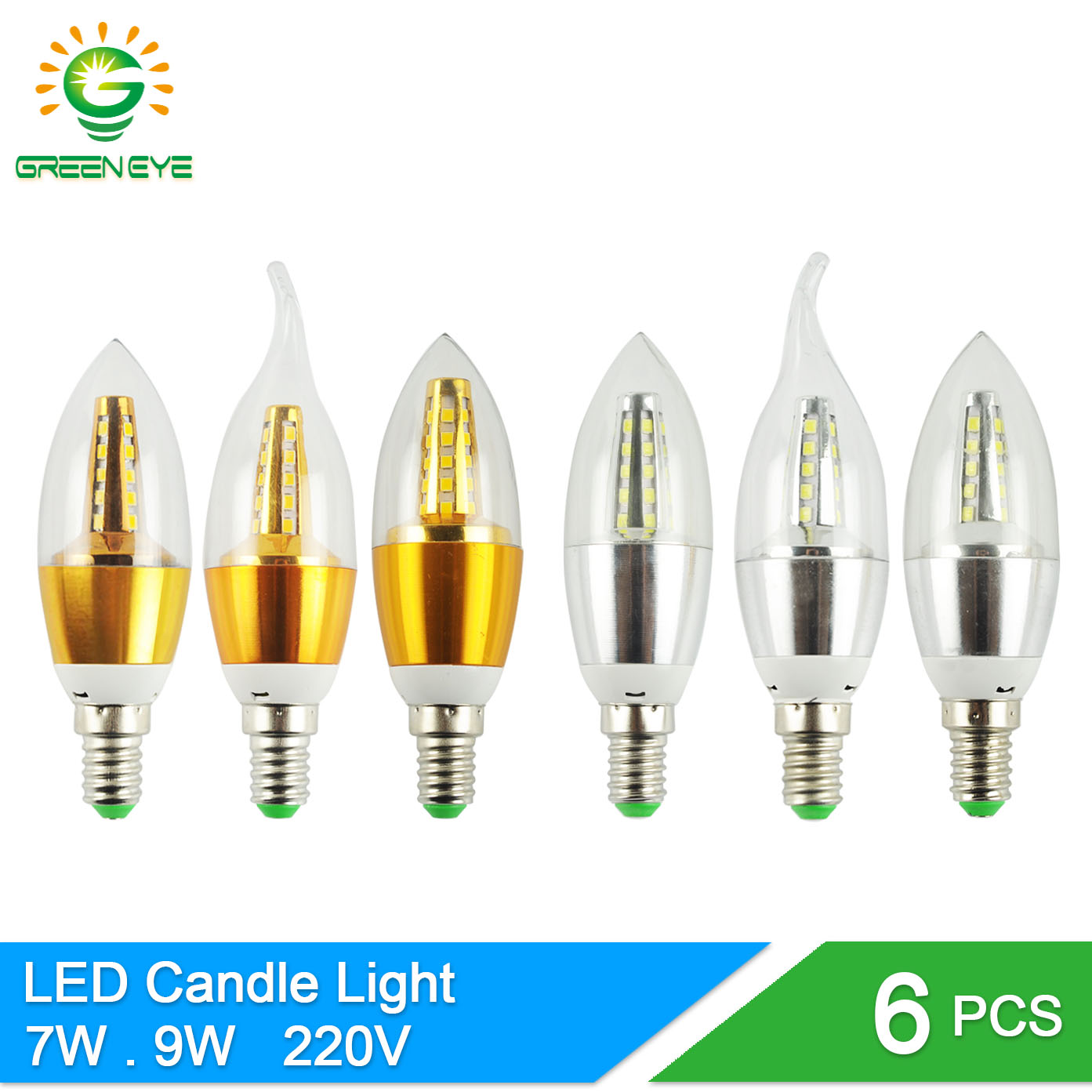 GreenEye 6Pcs E14 LED Candle Bulb Light 7w 9w Aluminum LED Lamp 220V Golden Silver Cool Warm White Ampoule Lampara Vintage Retro candle led bulb e14 9w 12w aluminum shell e14 led light lamp 220v golden silver cool warm white ampoule lampara led smd 2835