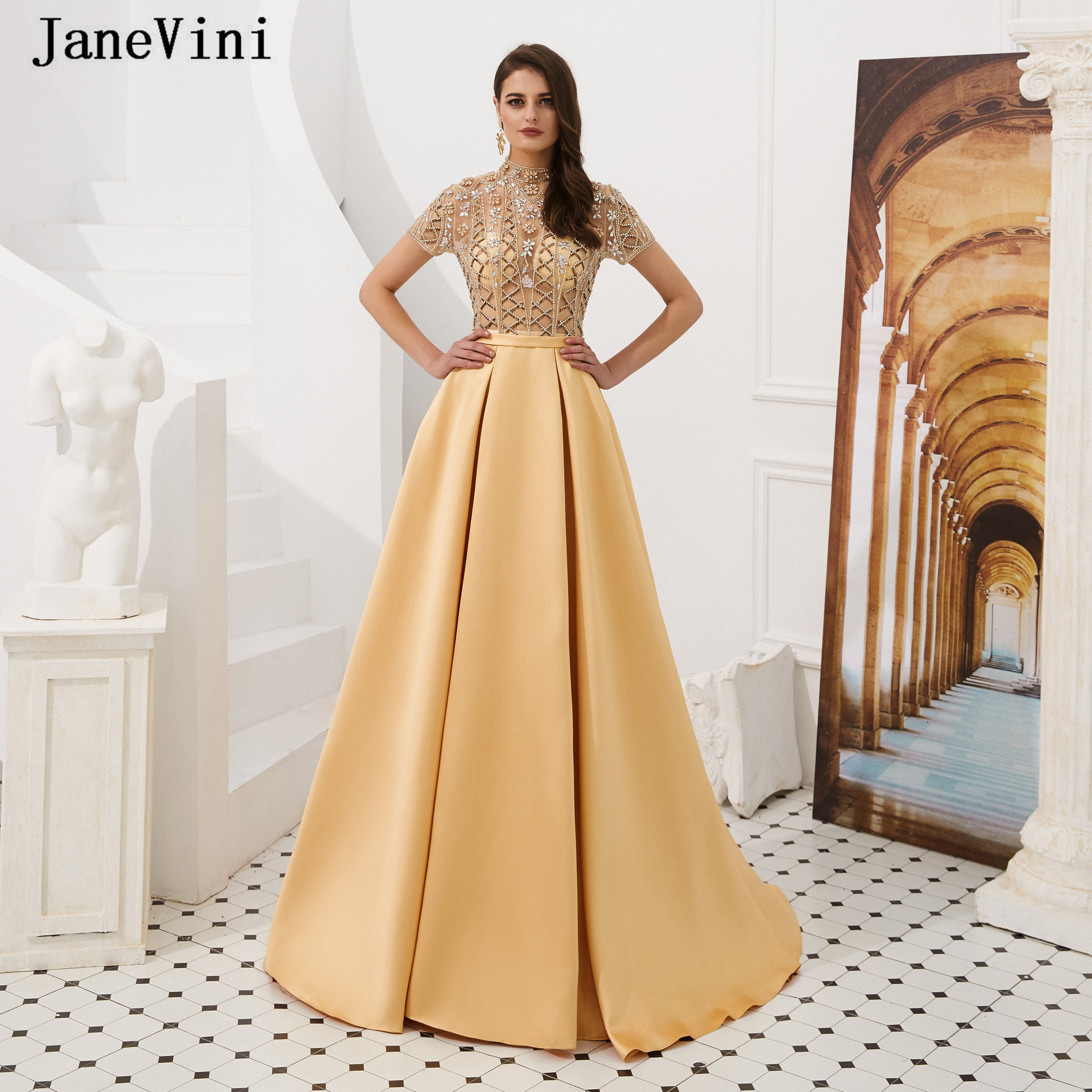 JaneVini Dubai Gold High Neck Luxury Short Sleeve Long   Prom     Dresses   2019 Shiny Beading Satin A Line Evening Gowns Robe De Soiree