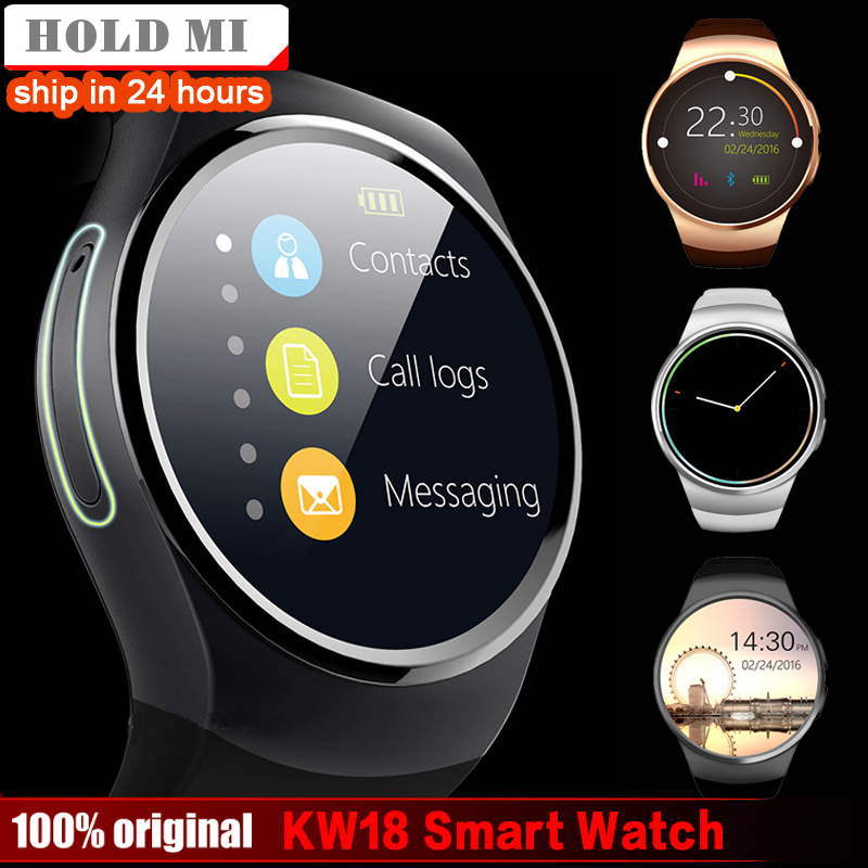 Free Shipping Hold Mi KW18 Smart Watch Support SIM TF Card Heart Rate Monitor MTK2502 Smartwatch