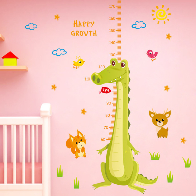 cartoon crocodile child height measurement wall stickers baby happy