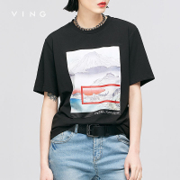 VING Funny T Shirts 2016 Summer Wommen Charactor Printed Embroidery Round Collar O Neck Casual Basic