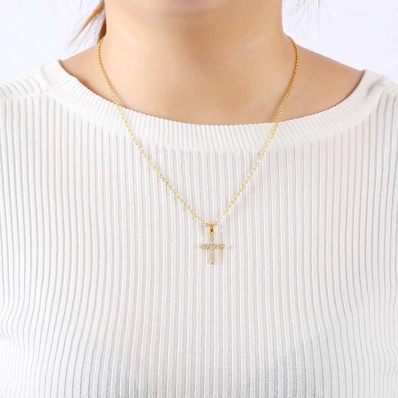 ใหม่ประณีตพระเยซู Cross จี้สร้อยคอ Rhinestone ทอง/เงินผู้หญิง Crucifix Charm เครื่องประดับ