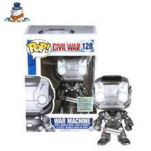 [QuanPaPa] Genuine Original FunKo POP Marvel Captain America civil War Machine 128 Action Figure doll car Decoration kids toys