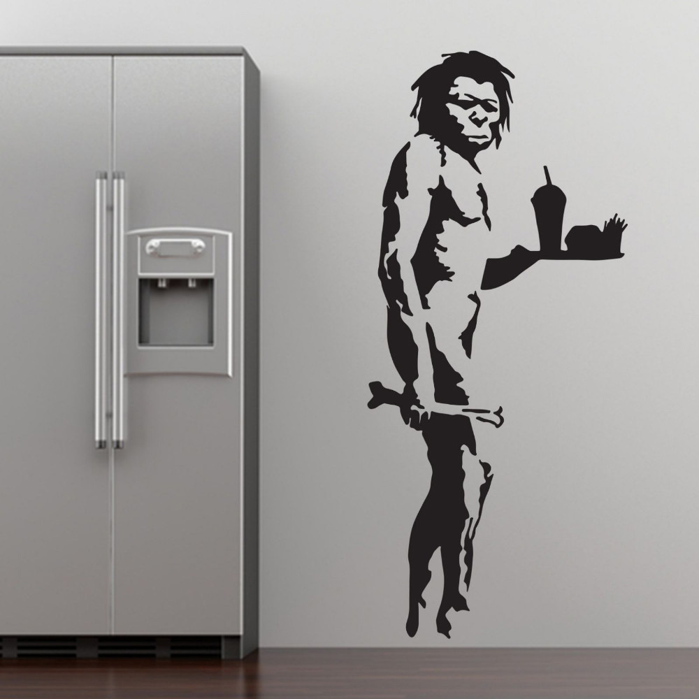 Banksy Fast Food Caveman Graffiti Wall Art Sticker Decal Home DIY  Decoration Wall Mural Removable Bedroom Decor Sticker 3 Size In Wall  Stickers From Home ...