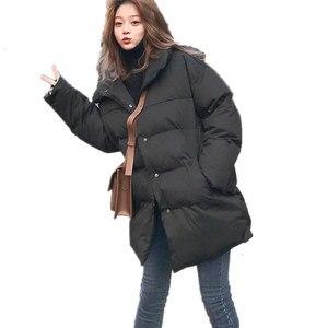Image 3 - Veste dhiver pour femme, Parka épais, duvet rembourré en coton, vêtement dextérieur surdimensionné à manches longues, manteau femme, Q641