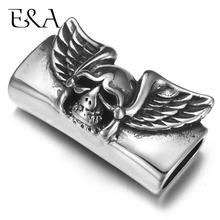 Stainless Steel Punk Angel Skull Slider Beads 12*6mm Hole Slide Charms for Men Leather Bracelet Jewelry Making DIY Accessories