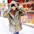 HONGZUO 2016 Winter Women Faux Fur Leopard Coat With Ears and Tail Thick Warm Full-Sleeve Hooded Long Coat Overcoat PC076