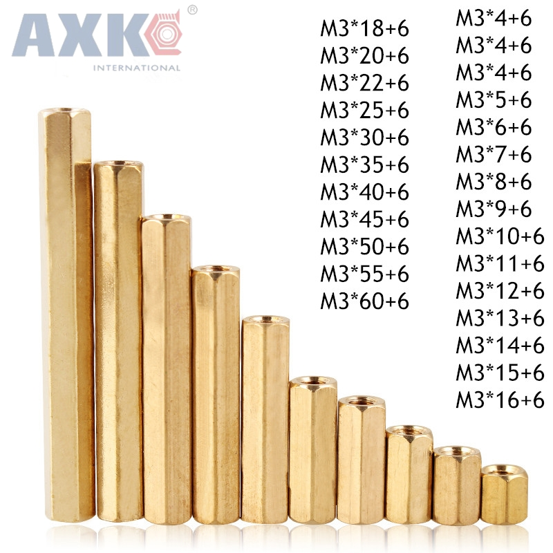 AXK M3 Male 6mm x M3 Female 4-60 mm Brass Standoff Spacer M3 (4-60)+6 Copper Hexagonal Stud Spacer Hollow Pillars m3*(4-60)+6mm fora 2844 1 100gr