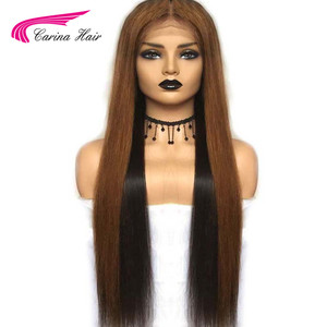 Image 2 - Carina Brazilian Lace Front Human Hair Wigs Pre plucked 13*3 Ombre 1b/33  Remy Hair Lace Wigs With Highlights