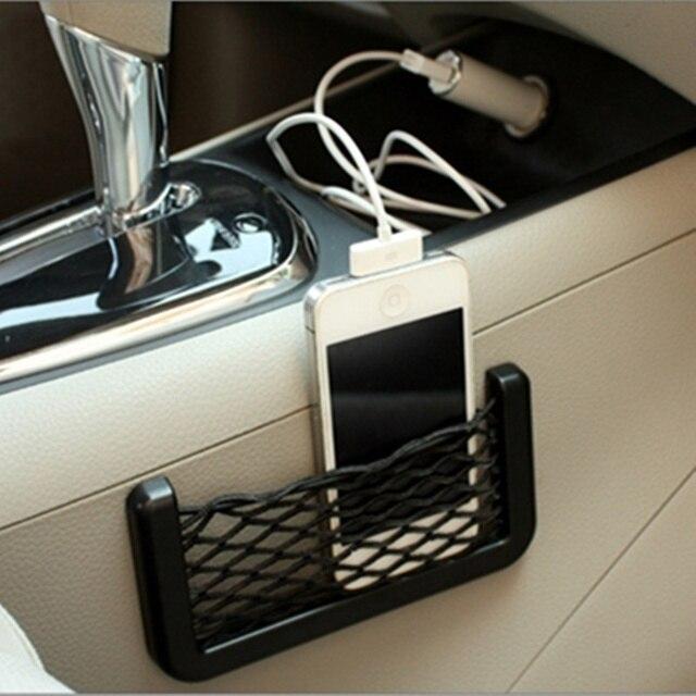 Bolso de red de malla de coche organizador Universal de almacenamiento de red de bolsillo para BMW Audi creativo Sundry malla bolsa de estilo de coche accesorios